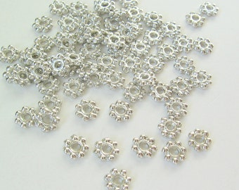 Bead Spacers Silver Tone 100 pcs