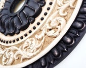 Ceiling medallion, hand painted RENAISSANCE in black, distressed and antiqued