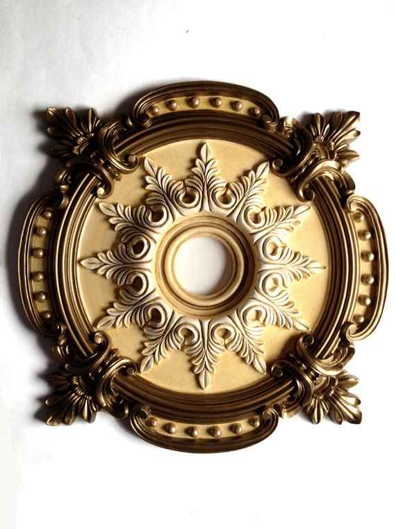 Items similar to Ceiling Medallion MILAN painted brass for a – Chandelier Medallion