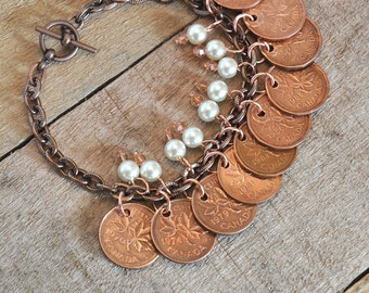 Upcycled, Repurposed, Canadian Pennies Bracelet 1970s 1980s 1990s, 10 coins bracelet, 9 Pearls and Beads, OOAK, Copper Bracelet