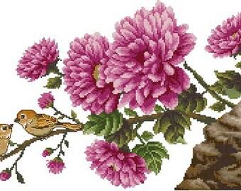 Digital downloadable PDF file electronic pattern counted aida digital cross stitch flower  pattern Z032
