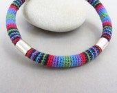 Handcrafted Bangle Bracelet, Silver and Colorful Miniature Crocheted Cotton, Black and Jewel Tones