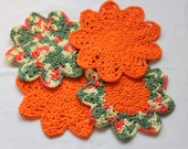 Cotton Dishcloth Set - Crocheted Dish Cloths - Cotton Wash Cloths - Orange - Set of 4