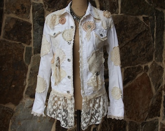 SALE*Shabby Chic doily denim jacket