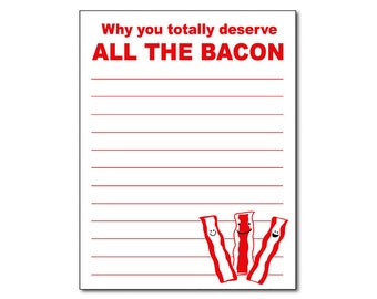 "Bacon Notepad Funny Gift Idea 4.25"" x 5.5"""