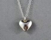 Fine Silver Heart Necklace, 925 Sterling Silver, Modern, Simple, Delicate, Everyday Wear Jewelry