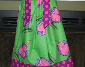 Lovey Hippo Pillowcase dress  :VD012