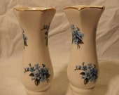 A PAIR OF white vases with hand painted blue flowers-Lord Nelson pottery