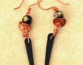 Copper, Ceramic Flower Beads and Black Shards Earrings