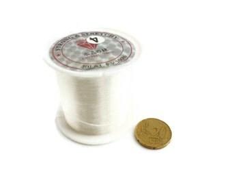 50 meters (65.62yd) White Crystal String - Nylon Beading Cord  0.4mm