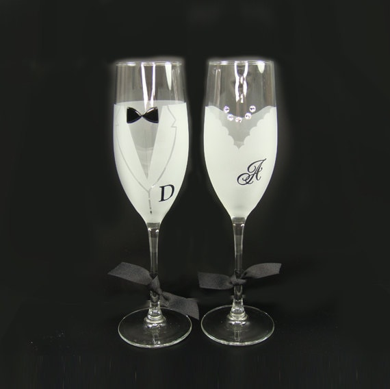 Items Similar To Champagne Glass Set With Vinyl Decal Initial Personalized Wedding Champagne