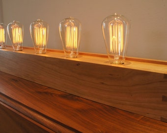 """Edison Lamp with Dovetailed Cherry Box - 36"""" Version - Made to Order"""