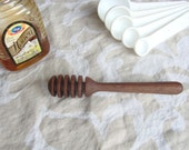 Mini honey dipper, 5 inches long, honey stick, honey swizzler, great for tea lovers, dark brown wood, elegant design