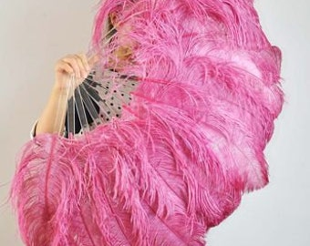 "palevioletred single layer Ostrich Feather Fan Burlesque Dance costume 25""x45"""