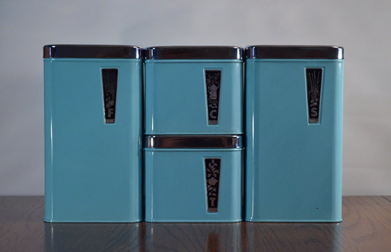 Vintage Retro Turquoise Blue Eatons Tin Chrome Metal Canister