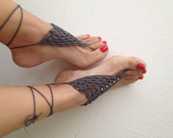Grayed Barefoot Sandals, Nude shoes, Foot jewelry, Wedding, Victorian Lace, Sexy, Lolita, Yoga, Anklet