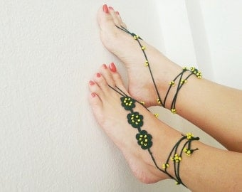 Spring Celebrations Green with yellow beaded barefoot sandals Bridal Accessories, Sexy,Yoga, Anklet, Bellydance, Steampunk, Beach Pool