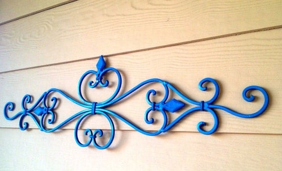 Lightly Distressed Metal Wall Art//Wrought Iron Wall Hanging Scrolling Wall  Art Painted in