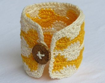Wide Crochet Bracelet- Ivory and Yellow- Handmade Natural Wood Button