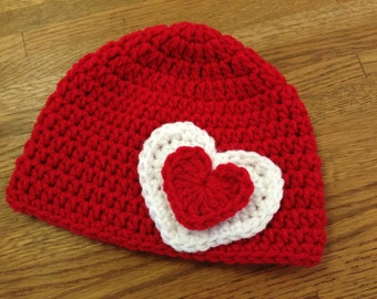 Double layer heart beanie - Crocheted hat with heart - Made to order in any size/color