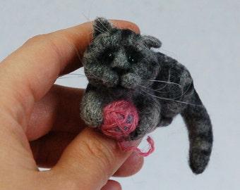 Grey Cat Felted Brooch