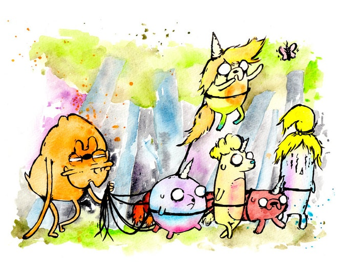 Jake the Dad and Children 8.5x11 inch inkjet print. Adventure Time fan art. Lady Rainicorn Jake Jr.