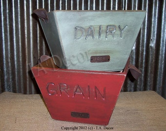 Reproduction Grain and Dairy Buckets - Grain Bucket - Dairy Bucket - Idaho Bucket - Red or Green Greay bucket with leather straps, numbered