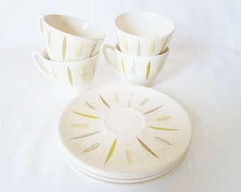 Vintage Knowles Festival F-5220  Set of Four Cups and Saucers  Mid Century Modern Atomic  Knowles Pottery Cup  Saucer