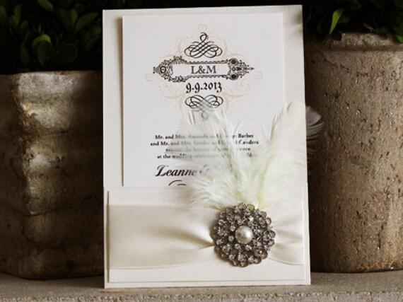 Sale vintage wedding invitation with metallic paper and for Wedding invitation paper for sale