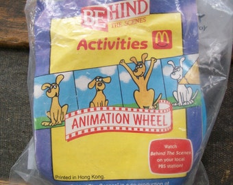 1992 McDonald's Sealed Toy - Animation Wheel, Behind the Scenes Cartoon Strip Viewer