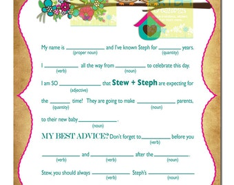 Owls Baby Shower Mad Lib - Spring Owls and Flower Baby Shower Personalized Mad Lib - Owl Baby Shower Mad Lib -Baby Owl Mad Lib