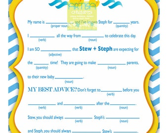 Rubber Duckies Baby Shower Personalized Mad Lib - Rubber Ducky Baby Shower Mad Lib Game - Chevron Rubber Ducky Baby Shower - Duck Baby