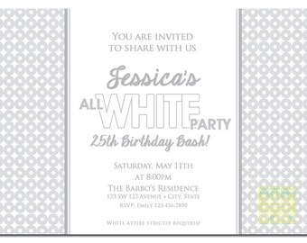 All White Party Invitation, White Party Invitation, Summer White Party Invite, ALl White Birthday Invitation, White Party, White Invitation