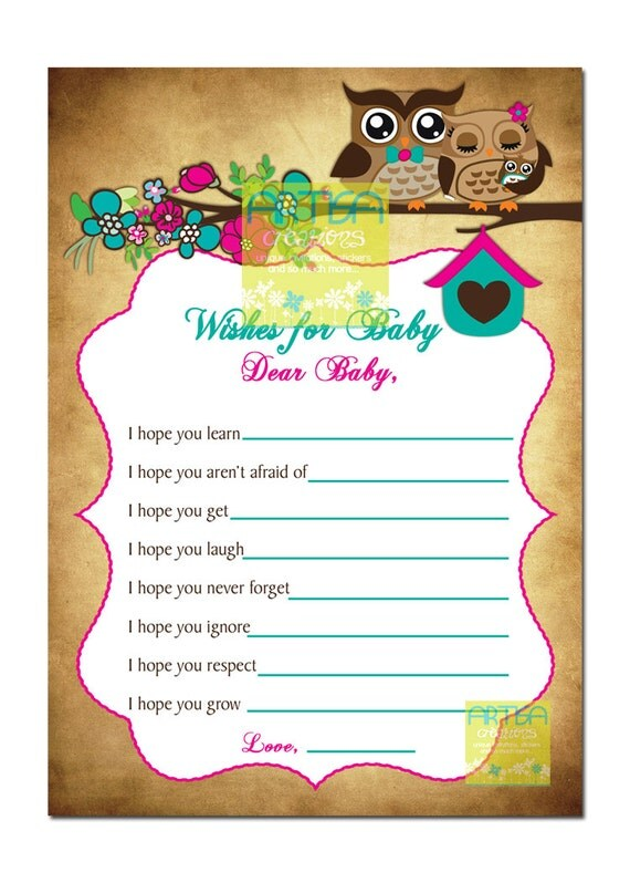 Awesome Spring Owls Baby Shower Wishes For Baby Card   Owls Baby Shower WIshes For  Baby   Owls Baby Shower   Owl Baby Shower Wishes Card