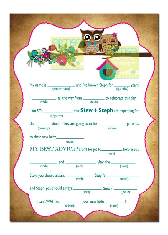 baby shower personalized mad lib owl baby shower mad lib baby owl