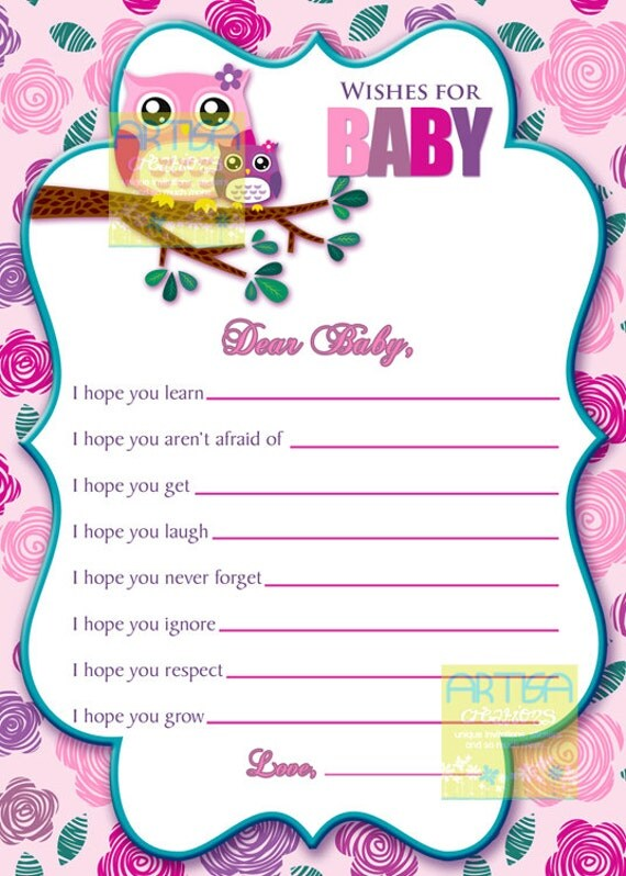 Pink Owl Wishes For Baby Card Owl Baby Girl Wishes Card