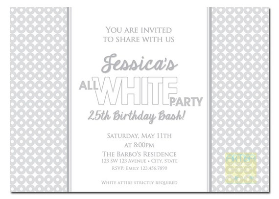 All White Party Invitation White Party Invitation Summer