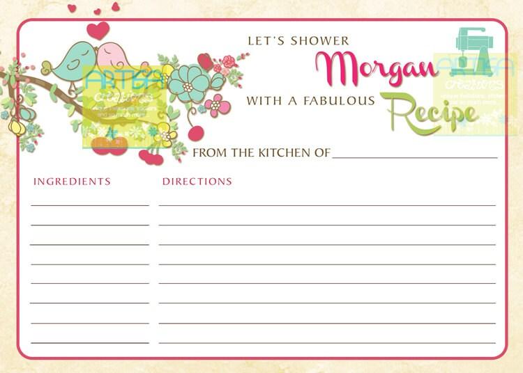 Spring Bridal Shower Recipe Card Spring Love Birds Recipe