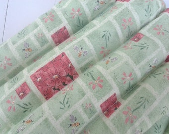 Thermal Therapy Rice Bag with Mint Green Floral and Tiny Bees