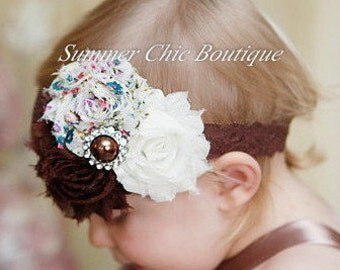 Fall Headband, Fall Baby Headband, Baby Headband, Infant Headband, Newborn Headband, Toddler Headband, Brown, and Ivory on Lace