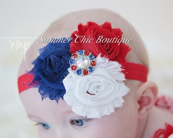 Fourth of July Baby Headband, Infant Headband, Newborn Headband, Shabby Headband, Red, White, and Blue Headband