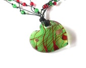 Pendant necklace handmade with green and red glass beads and glass pendant. ooak made in Italy.