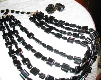 Vintage Costume Licorice Beads with Earrings