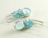 Reserved Listing For Avenger Only  -  Aqua Blue Wire Wrapped Earrings, Aqua Blue Bridal Earrings,  Aqua Blue Cluster Earrings