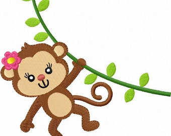 Instant Download Girl Monkey  Filled Stitches Machine Embroidery Design NO:1283