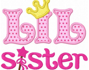 Instant Download Little Sister With Magic Wand Applique Machine Embroidery Design NO:1302