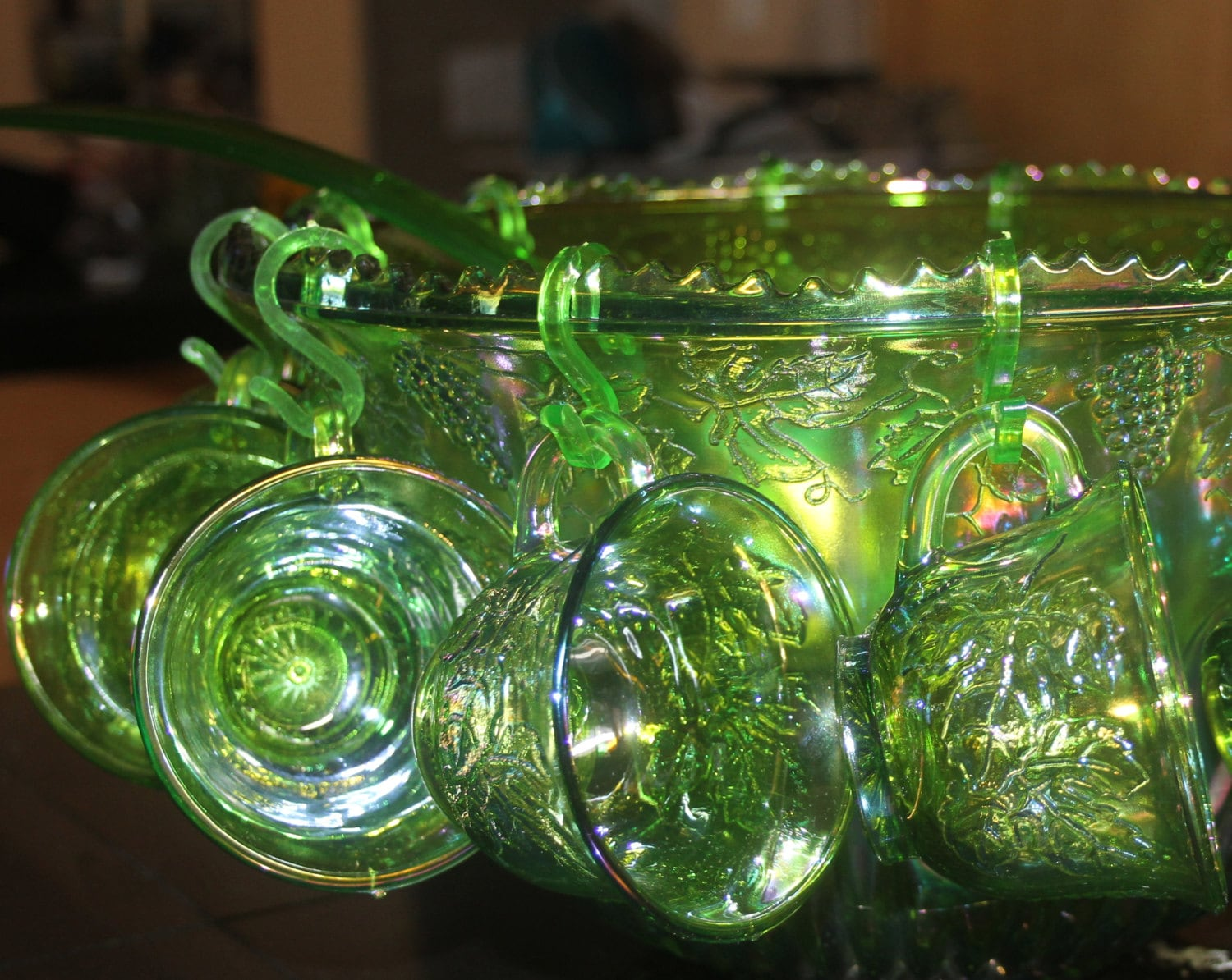Carnival Glass Punch Bowl Princess Set In By Jujubefunnyfinds