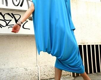 Oversize Aqua Blue Dress / Loose Casual Top / Asymmetric Raglan Sleeveless Tunic  / Maxi Blouse A02074