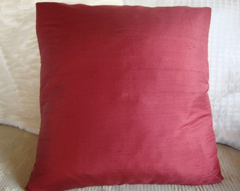 "Red silk pillow cover-Set of two- 16""x16"""