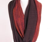 Chunky Two Tone Extra Long Earth Tone Infinity Sweater Circle Stretch Knit Infinity Cowl Scarf Shawl